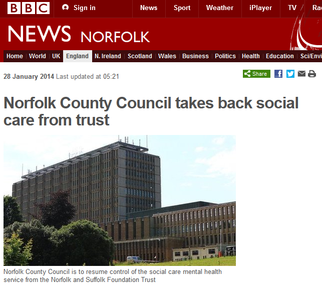 BBC Norfolk County Council takes back social care from NSFT