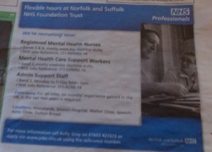Bury Mercury: NSFT vacancies at Woodlands, Ipswich Hospital, Walker Close, Ipswich, Airey Close, Oulton Broad
