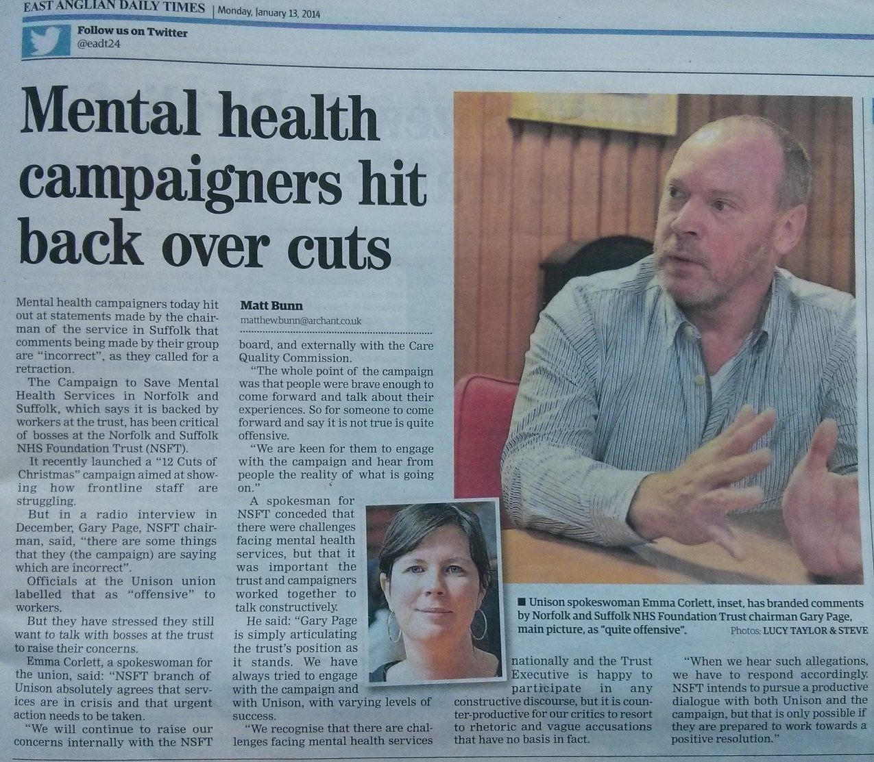 EADT Mental health campaigners hit back over cuts