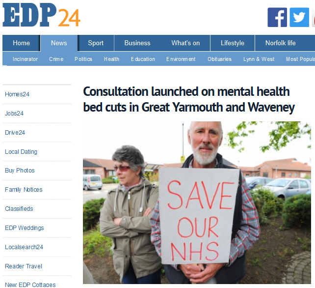 EDP Consultation launched on mental health bed cuts in Great Yarmouth and Waveney