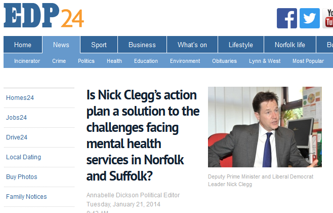 EDP Is Nick Cleggs action plan a solution to the challenges facing mental health services in Norfolk and Suffolk