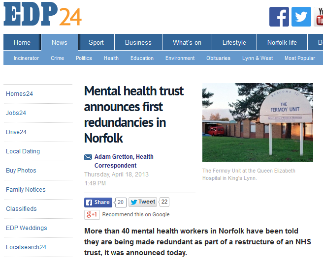 EDP Mental health trust announces first redundancies in Norfolk