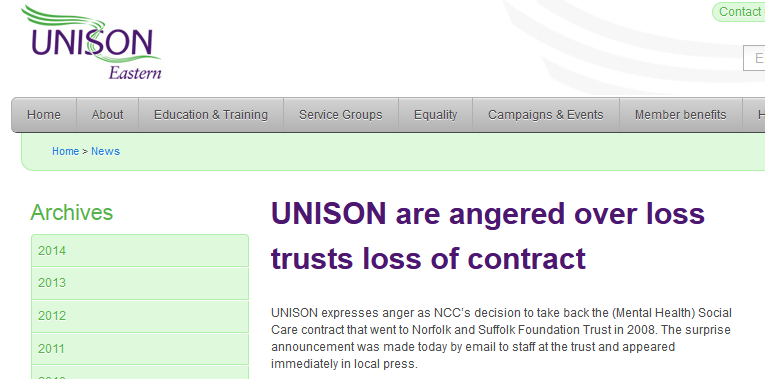 UNISON are angered over loss trusts loss of contract
