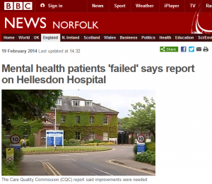 BBC: Mental health patients 'failed' says report on Hellesdon Hospital
