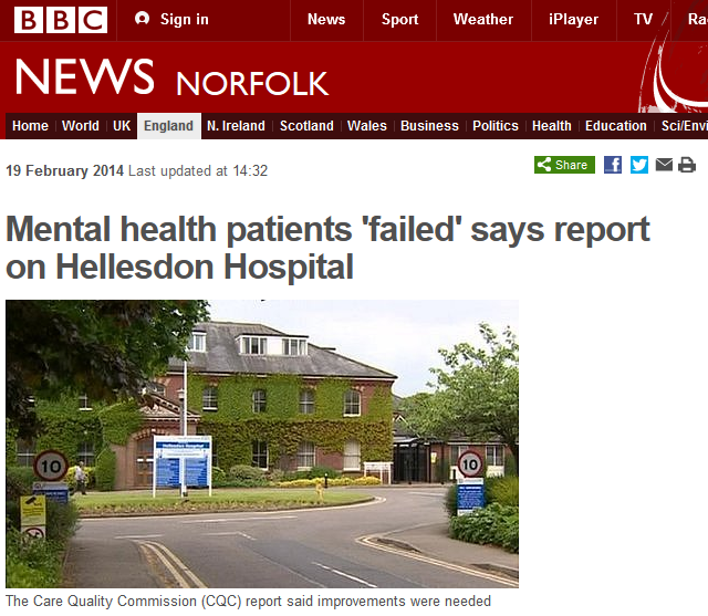 BBC Mental health patients 'failed' says report on Hellesdon Hospital