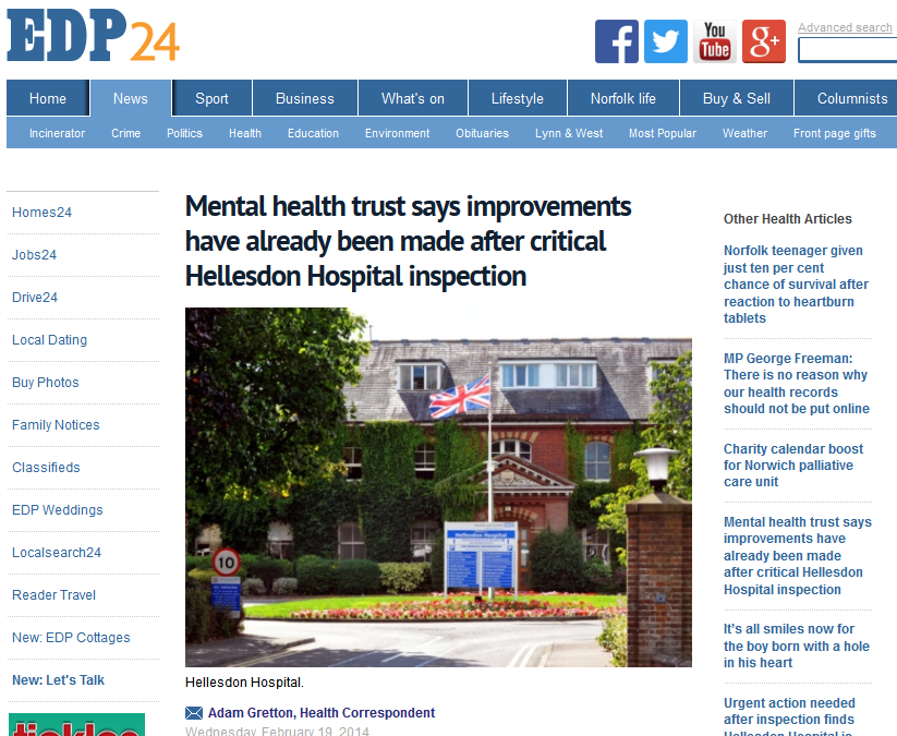 EDP Mental health trust says improvements have already been made after critical Hellesdon Hospital inspection