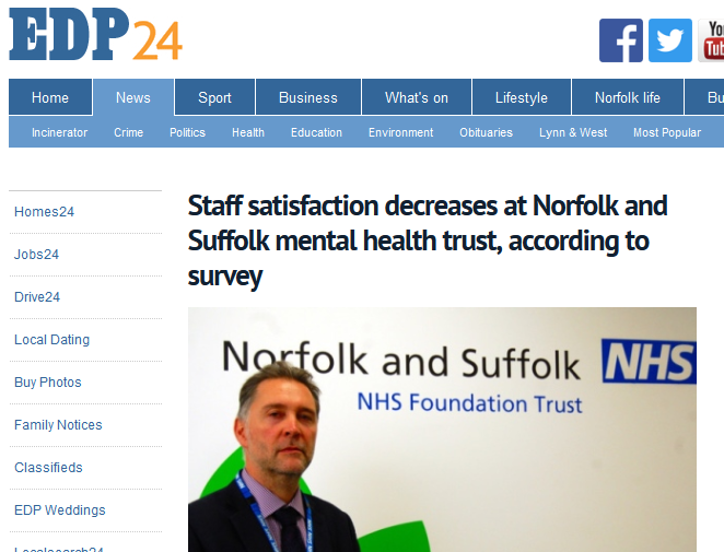 EDP Staff satisfaction decreases at Norfolk and Suffolk mental health trust, according to survey