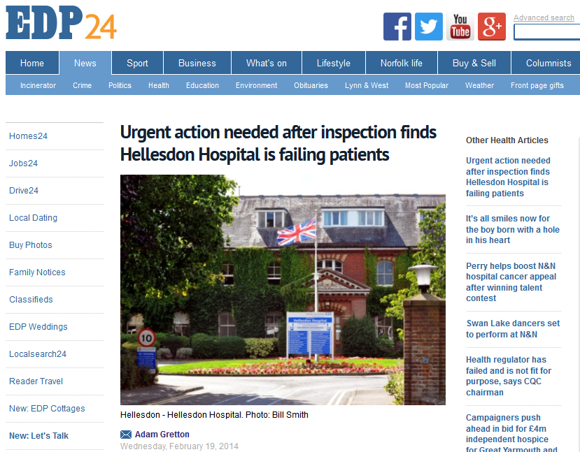EDP Urgent action needed after inspection finds Hellesdon Hospital is failing patients