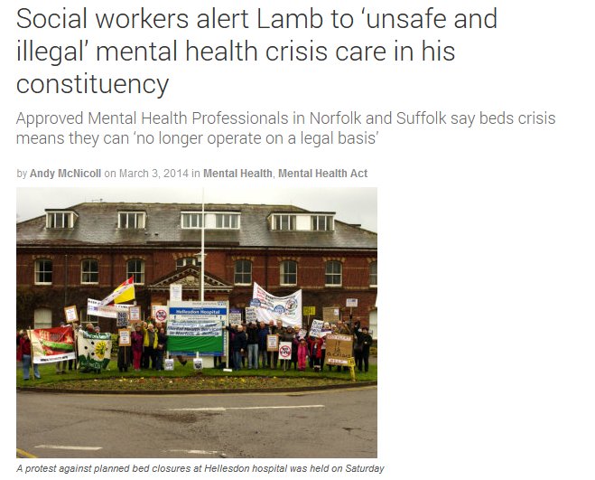 Community Care Social workers alert Lamb to 'unsafe and illegal' mental health crisis care in his constituency