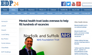 EDP: Mental health trust looks overseas to help fill hundreds of vacancies