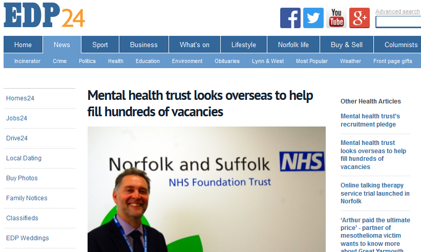 EDP Mental health trust looks overseas to help fill hundreds of vacancies