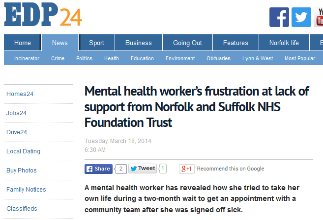 EDP Mental health workers frustration at lack of support from Norfolk and Suffolk NHS Foundation Trust