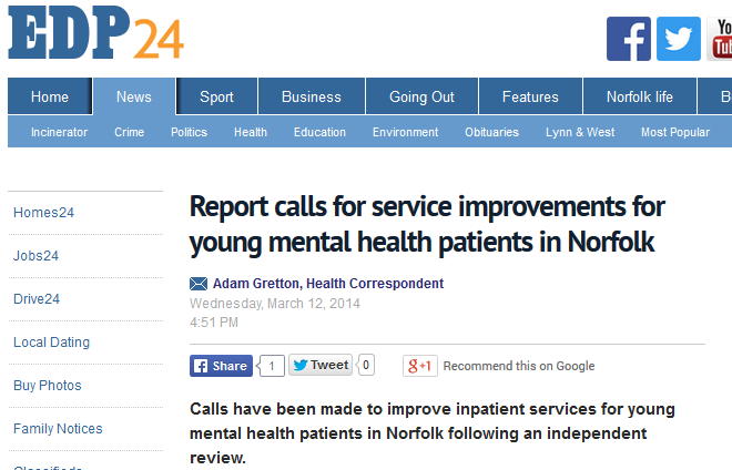 EDP Report calls for service improvements for young mental health patients in Norfolk