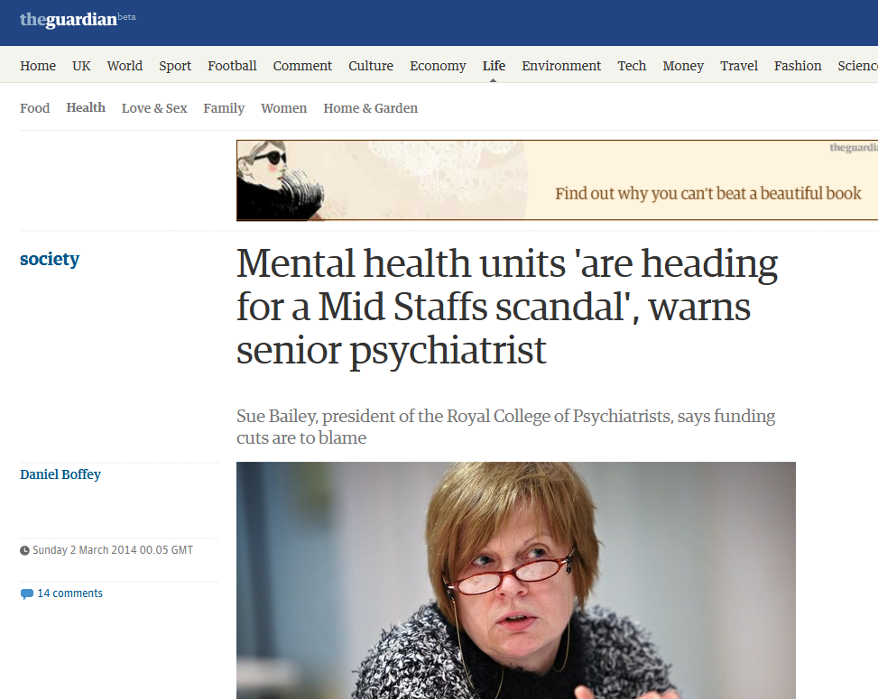 Observer Mental health units 'are heading for a Mid Staffs scandal', warns senior psychiatrist