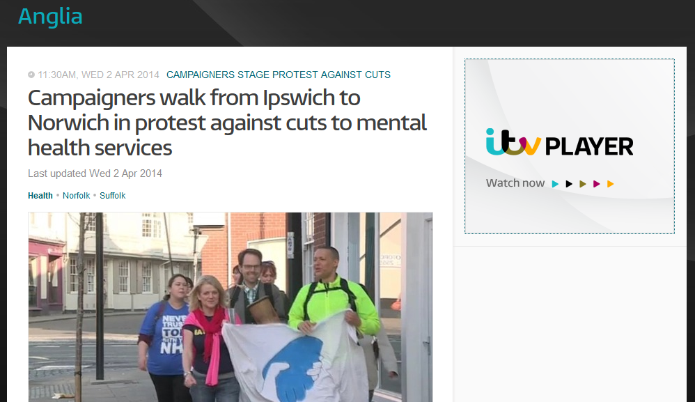 Anglia News Campaigners walk from Ipswich to Norwich in protest against cuts to mental health services