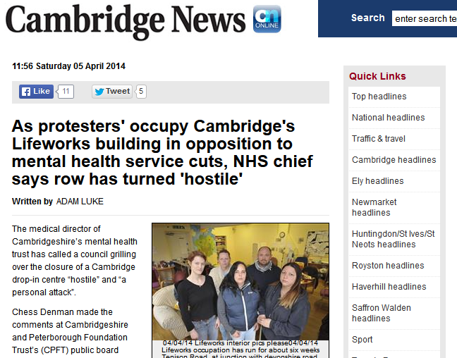 Cambridge News Lifeworks Occupation