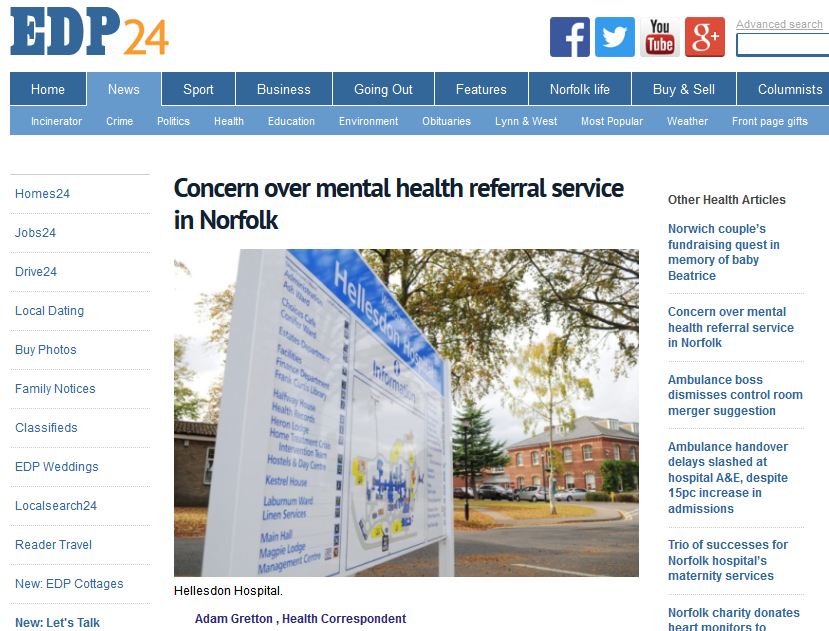 EDP Concern over mental health referral service in Norfolk