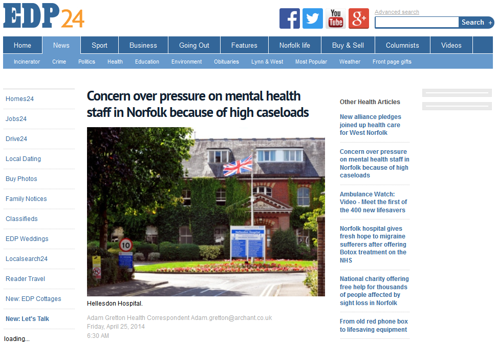 EDP Concern over pressure on mental health staff in Norfolk because of high caseloads
