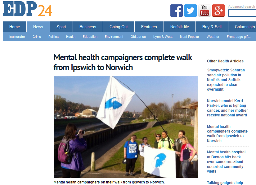 EDP Mental health campaigners complete walk from Ipswich to Norwich