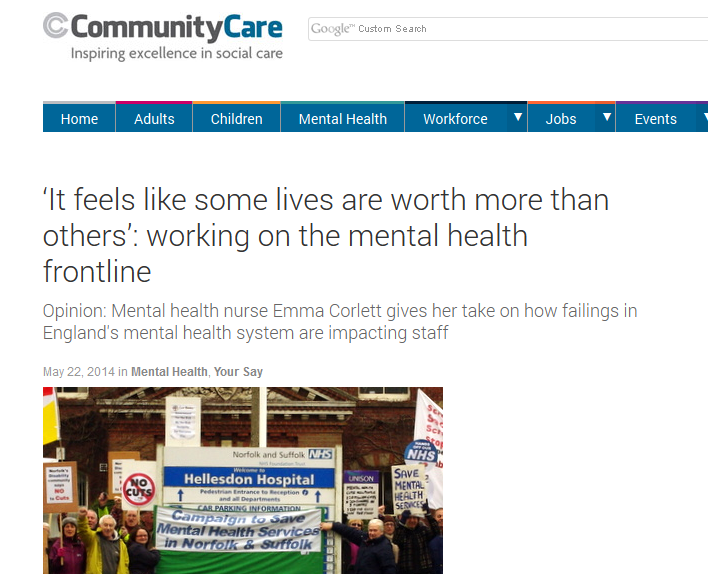 Community Care It feels like some lives are worth more than others - working on the mental health frontline