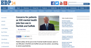 NSFT - A Warning from History: February 2013 EDP - Concerns for patients as 500 mental health jobs face axe in Norfolk and Suffolk