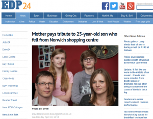 EDP: Mother pays tribute to 25-year-old son who fell from Norwich shopping centre