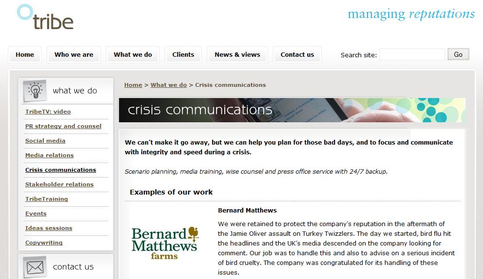 Tribe PR Crisis Management Bernard Matthews Turkey Twizzlers