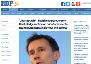 EDP: 'Unacceptable' - health secretary Jeremy Hunt pledges action on out of area mental health placements in Norfolk and Suffolk