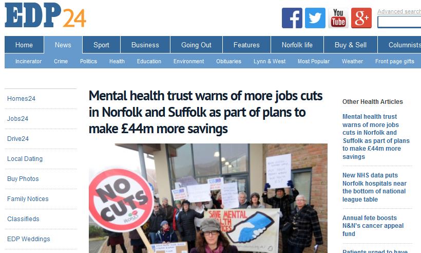 EDP: Mental health trust warns of more jobs cuts in Norfolk