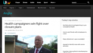 Sister campaigns: itv NEWS Anglia - Health campaigners win fight over Lifeworks closure plans