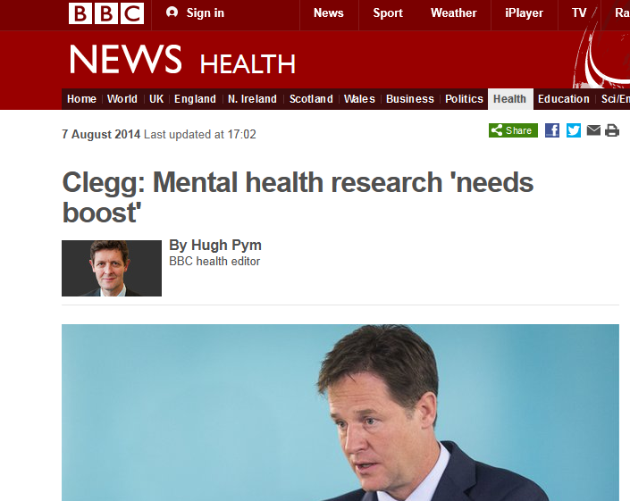 BBC News - Clegg - Mental health research 'needs boost'