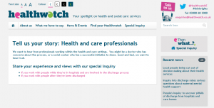 Healthwatch Discharge Survey: Tell us your story: Health and care professionals