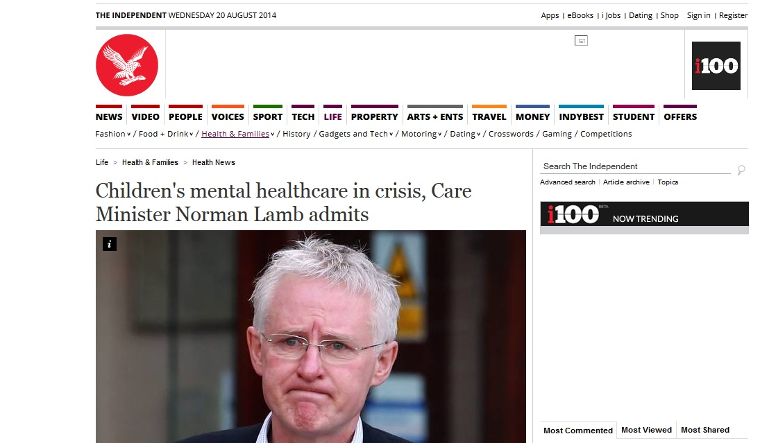 Independent Children's mental healthcare in crisis, Care Minister Norman Lamb admits