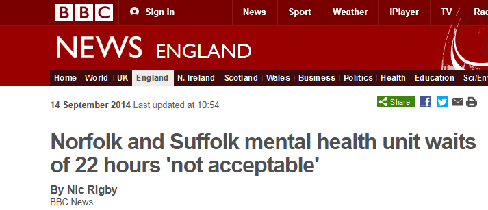 BBC News Norfolk and Suffolk mental health unit waits of 22 hours not acceptable