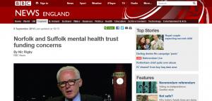 BBC: Norfolk and Suffolk mental health trust funding concerns