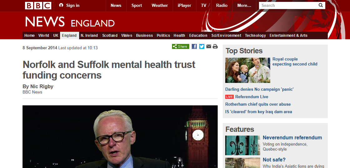 BBC Norfolk and Suffolk mental health trust funding concerns