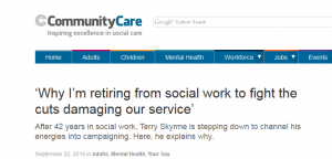 Community Care: Why I'm retiring from social work to fight the cuts damaging our service'