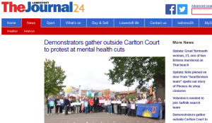Lowestoft Journal: Demonstrators gather outside Carlton Court to protest at mental health cuts
