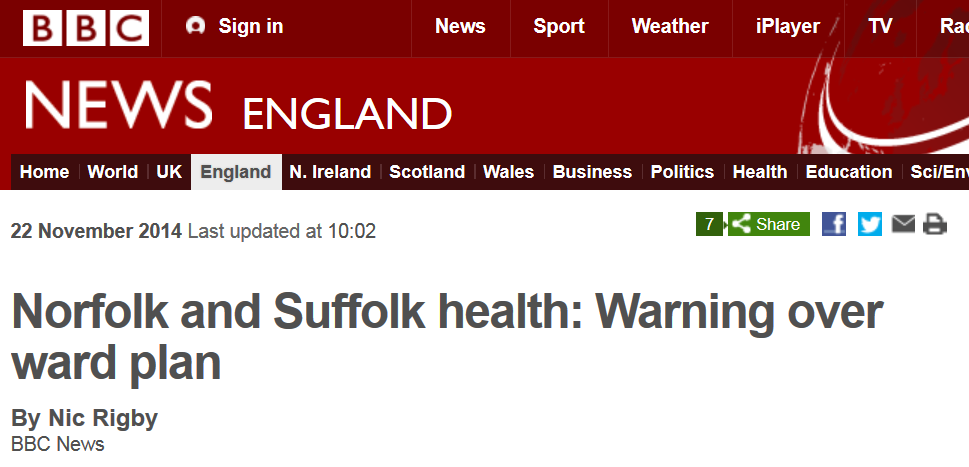 BBC News Norfolk and Suffolk health Warning over ward plan