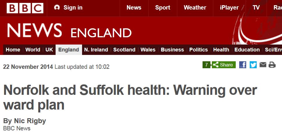 BBC News Norfolk and Suffolk health Warning over ward plan