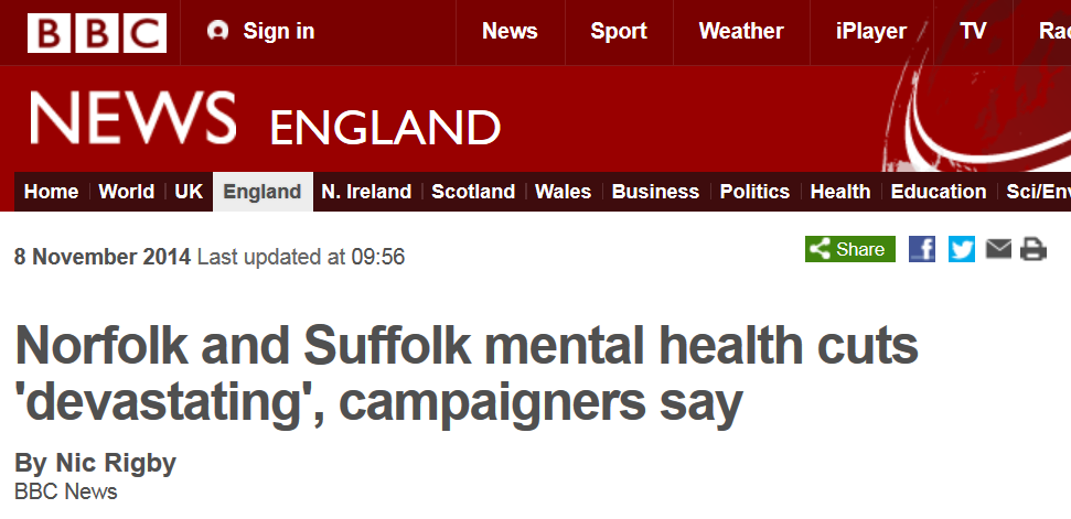 BBC News Norfolk and Suffolk mental health cuts 'devastating' campaigners say