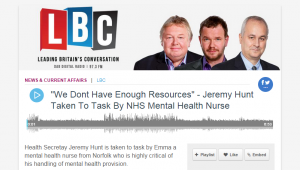 "Audio: ""We Dont Have Enough Resources"" - Jeremy Hunt Taken To Task By NHS Mental Health Nurse"