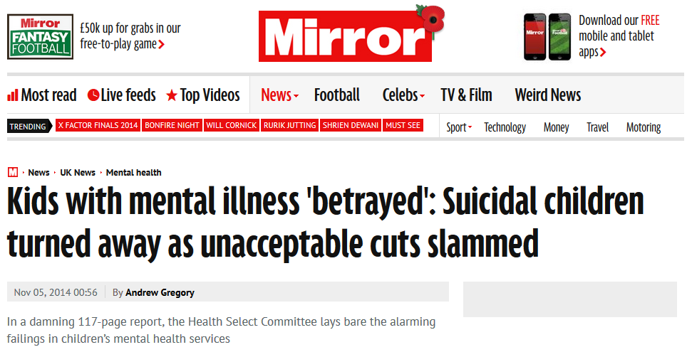 Mirror Kids with mental illness 'betrayed' Suicidal children turned away as unacceptable cuts slammed