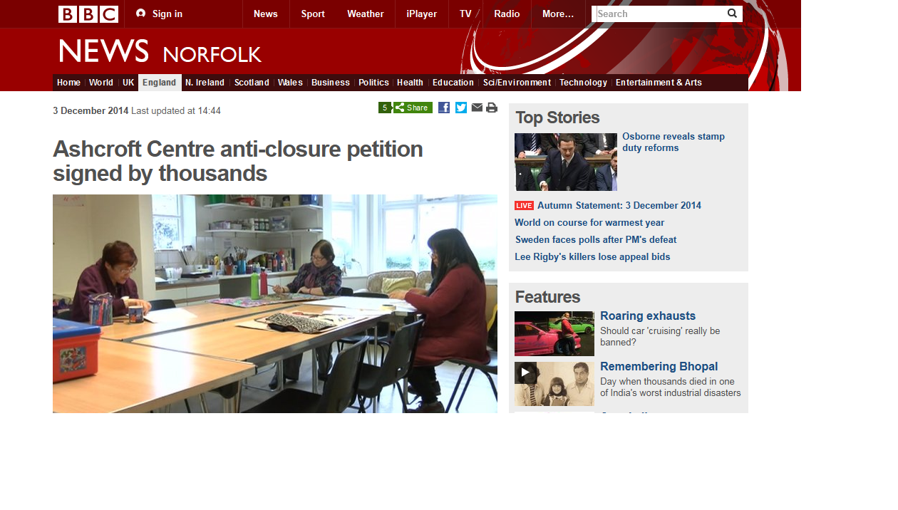 BBC News Ashcroft Centre anti-closure petition signed by thousands