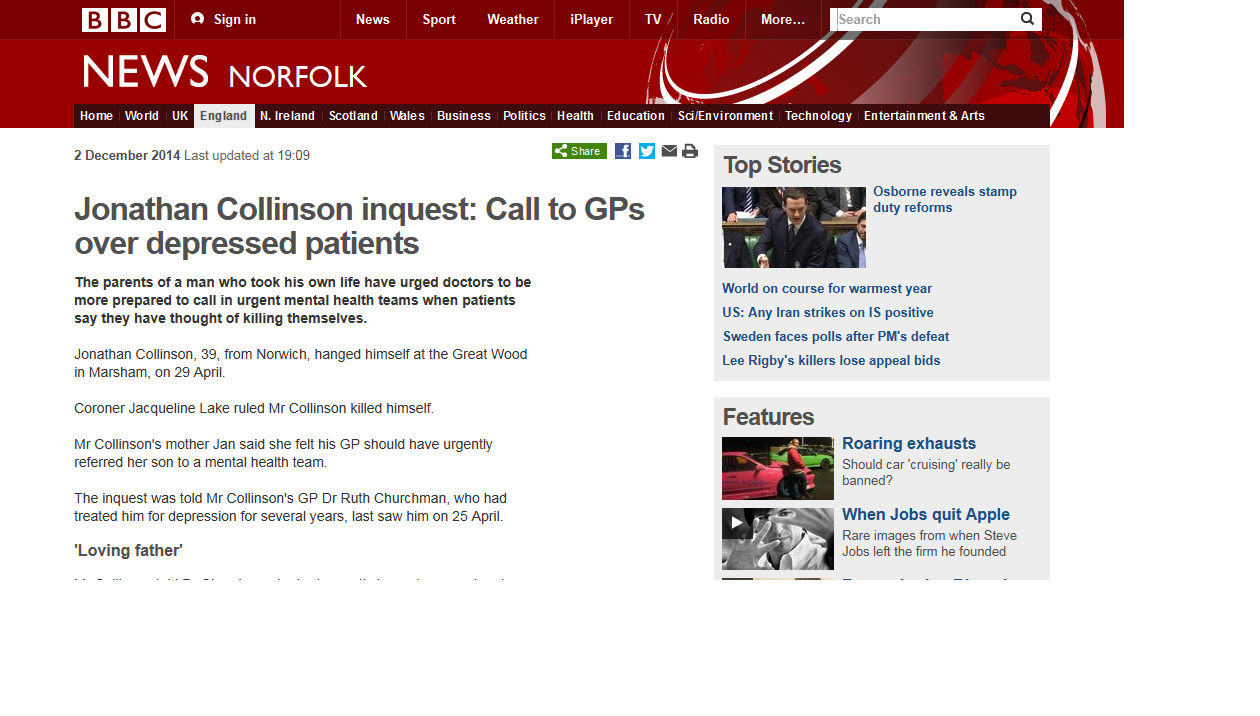 BBC News Jonathan Collinson inquest Call to GPs over depressed patients