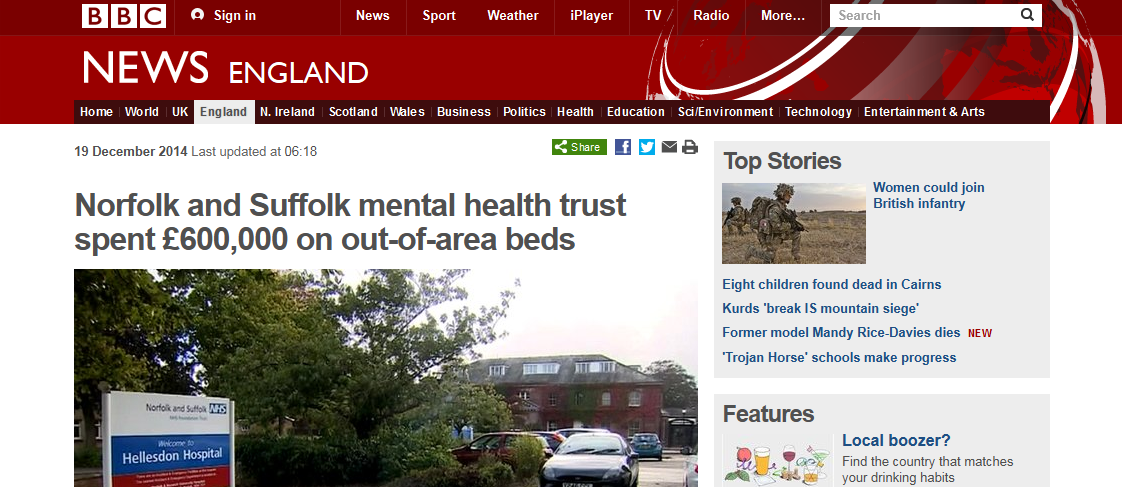 BBC News Norfolk and Suffolk mental health trust spent £600,000 on out-of-area beds