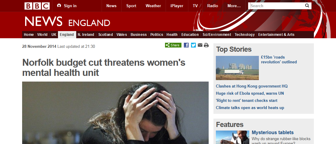 BBC News Norfolk budget cut threatens women's mental health unit