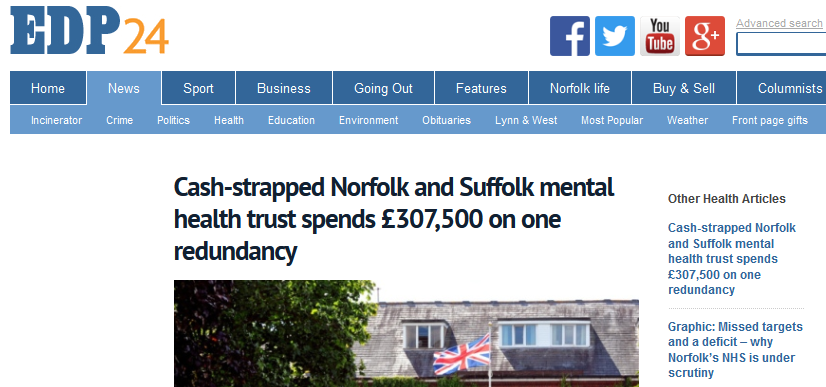 EDP Cash-strapped Norfolk and Suffolk mental health trust spends £307,500 on one redundancy