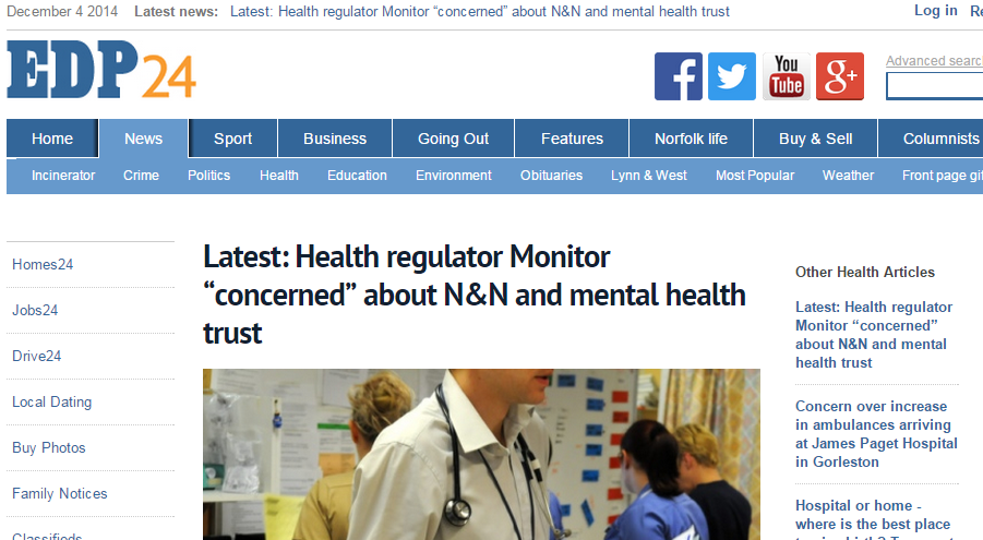 EDP Latest Health regulator Monitor concerned about N&N and mental health trust