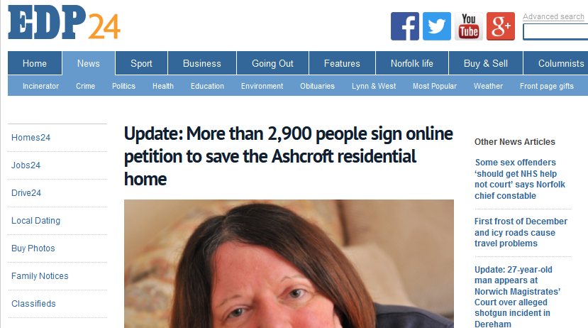 EDP Update More than 2,900 people sign online petition to save the Ashcroft residential home